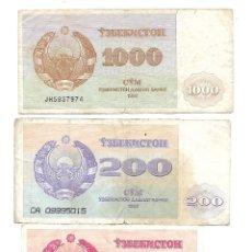 Billetes extranjeros: UZBEKISTAN 10 SOM, 200 SOM Y 1000 SOM 1992. PICKS: 10 SOM 64A / 20 SOM 68A / 1000 SOM 70A. Lote 130591658