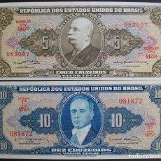 Billetes extranjeros: BRASIL. LOTE 2 BILLETES: 5 Y 10 CRUZEIROS. PICK 167,176. SC/UNC. Lote 130777680