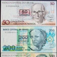 Billetes extranjeros: BRASIL. LOTE/SET 3 BILLETES: 50, 200 Y 500 CRUZEIROS. PICK 223,225,226. SC/UNC. Lote 130778020