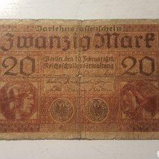 Billetes extranjeros: ALEMANIA 20 MARCOS 1918. Lote 130806743