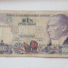 Billetes extranjeros: TURQUIA 1000 LIRAS 1970. Lote 130823084