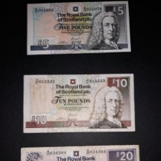 Billetes extranjeros: BILLETES ESCOCESES THE ROYAL BANK OF SCOTLAND. £5 £10 £20. Lote 131075585