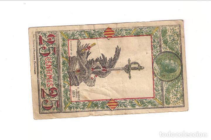 Billetes extranjeros: BILLETE LOCAL DE 25 CÉNTIMOS DE SYNDICATS COMMERCIAUX DES PYRÉNÉES-ORIENTALES DE FRANCIA. (BE145) - Foto 2 - 131429110