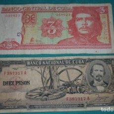 Billetes extranjeros: CUBA LOTE 5- 2 BILLETES 10 PESOS Y 3 PESOS DIFERENTES AÑOS- LEA. Lote 131578906