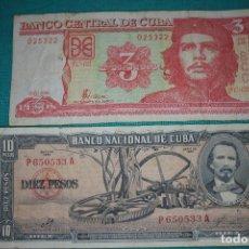 Billetes extranjeros: CUBA LOTE 7- 2 BILLETES 10 PESOS Y 3 PESOS DIFERENTES AÑOS- LEA. Lote 131579154