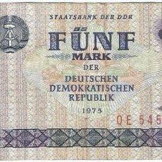 Billetes extranjeros: ALEMANIA DEMOCRATICA - GERMANY DEMOCRATIC REPUBLIC 5 MARK 1975 PICK 27B. Lote 131956934