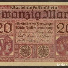 Billetes extranjeros: ALEMANIA. 20 MARK 20.2.1918. PICK 57. S/C.. Lote 131992043