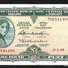 Billetes extranjeros: IRLANDA 1 POUND 1966 MBC+. Lote 132074710