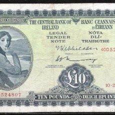 Billetes extranjeros: IRLANDA 10 POUNDS 1975 MBC-. Lote 132075050