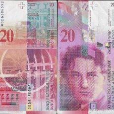 Billetes extranjeros: SUIZA - 20 FRANCO COLORADO - EBC - VISITA MIS OTROS LOTES Y AHORA GASTOS. Lote 173976274