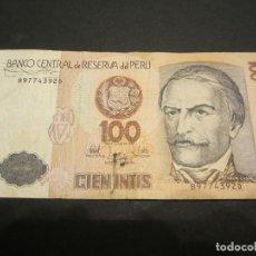 Billetes extranjeros: BILLETE DE 100 INTIS DE PERÚ. Lote 132504602
