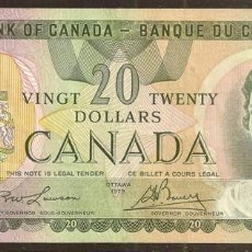 Billetes extranjeros: CANADA. 20 $ 1979. PICK 93A. FIRMAS: LAWSON - BOUEY.. Lote 132604342