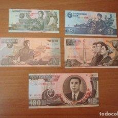 Billetes extranjeros: 5 BILLETES-COREA DEL NORTE-95 ANIVERSARIO-SC-UNC. Lote 133151146