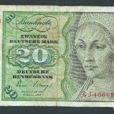 Billetes extranjeros: BILLETE 20 MARCOS AÑO 1980 ALEMANIA SWANZING DEUTSHE MARK GJ. Lote 134122690