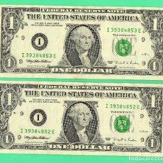 Billetes extranjeros: LOTE 2 BILLETES CORRELATIVOS 1 DOLAR EEUU AÑO 1995 , LETRA I, BANK OF MINNEAPOLIS ,. Lote 134229802