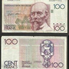 Billetes extranjeros: BELGICA 100 FRANCS 1982-1994 PICK 142 . Lote 134376046