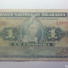 Billetes extranjeros: BILLETE BANCO NACIONAL DE NICARAGUA UN CORDOBA SERIE DE 1959.. Lote 134377857