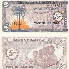 Billetes extranjeros: BIAFRA 5 SHILLINGS 1968 PICK 1A - S/C. Lote 134379630
