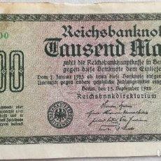 Billetes extranjeros: BILLETE ALEMANIA. 1000 MARCOS. 1922. Lote 134825322
