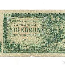 Billetes extranjeros: BILLETE DE 100 KORUN (CORONAS) DE CHECOSLOVAQUIA DE 1961. BC. WORLD PAPER MONEY-91B. (BE64. Lote 135131482