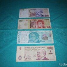 Billetes extranjeros: ESTUPENDO LOTE 4 BILLETES DE ARGENTINA DIFERENTES AÑOS DE CIRCULACIÓN. Lote 135372486