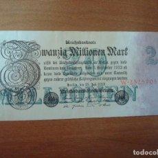 Billetes extranjeros: ALEMANIA-BILLETE DE 20 MILLONES DE MARCOS-25-7-1923-USADO. Lote 135555618