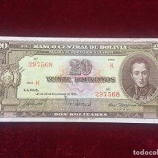 Billetes extranjeros: 20 BOLIVIANOS 1945 BOLIVIA SC-/AUNC (P #140A). Lote 135669471