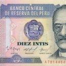 Billetes extranjeros: 10 INTIS, 17 DE ENERO DE 1986, PERU, SIN CIRCULAR UNC. Lote 158912401