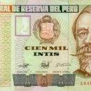 Billetes extranjeros: 100.000 INTIS, 100000, 21 DE DICIEMBRE DE 1989, PERU, SIN CIRCULAR UNC. Lote 135691591