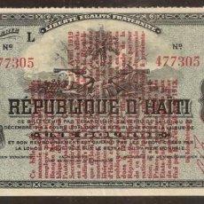 Billetes extranjeros: HAITI. EMISIÓN PROVISIONAL 1919. PRECIOSO 1 GOURDE SERIE L. PICK 140.. Lote 135726126