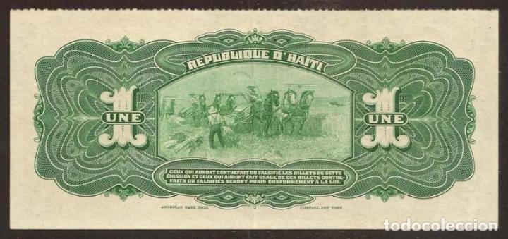 Billetes extranjeros: HAITI. Emisión provisional 1919. Precioso 1 gourde serie L. Pick 140. - Foto 2 - 135726126