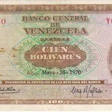 Billetes extranjeros: BILLETE DE VENEZUELA DE 100 BOLIVARES DEL AÑO 1970 SERIE Y. Lote 172159813