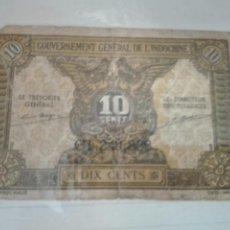 Billetes extranjeros: INDOCHINA FRANCESA // FRENCH INDOCHINA -- 10 CENTS ND ( 1942 ) --. Lote 135926146