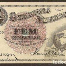 Billetes extranjeros: SUECIA. 5 KRONOR (CORONAS) 1947. PICK 33AD. VARIANTE DE FIRMAS.. Lote 136123680