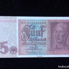 Billetes extranjeros: ALEMANIA 5 REICHSMARK 1942 ED. FACSÍMIL. Lote 136835806