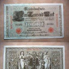 Billetes extranjeros: BILLETE DE ALEMANIA IMPERIO 1000 MARCOS 1910 SELLO ROJO REICHBANKNOTE. Lote 137526590