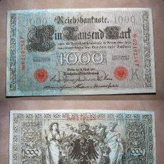 Billetes extranjeros: BILLETE DE ALEMANIA IMPERIO 1000 MARCOS 1910 SELLO ROJO REICHBANKNOTE. Lote 137526846