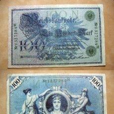 Billetes extranjeros: BILLETE DE ALEMANIA IMPERIO 100 MARCOS 1908 SELLO VERDE REICHBANKNOTE CIRCULADO. Lote 137528862