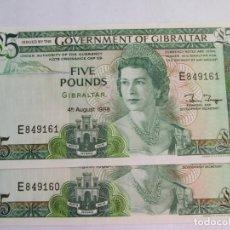Billetes extranjeros: GIBRALTAR * 5 LIBRAS SERIE 1988 E * PAREJA CORRELATIVA * PLANCHA. Lote 137574610