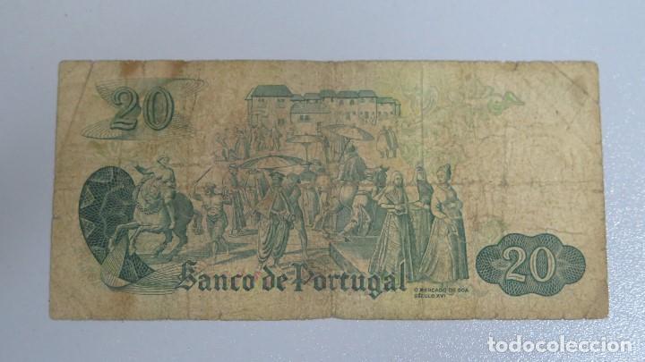 Billetes extranjeros: BILLETE 20 ESCUDOS. PORTUGAL. 1971 - Foto 2 - 137800386