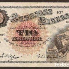 Billetes extranjeros: SUECIA. 10 KRONOR (CORONAS) 1937. PICK 34T.. Lote 138225901