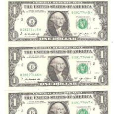 Billetes extranjeros: LOTE DE 3 BILLETES USA DE 1 DOLAR DE 2013 SERIES CORRELATIVAS PERFECTO ESTADO. Lote 156955002