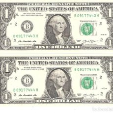 Billetes extranjeros: LOTE DE 2 BILLETES USA DE 1 DOLAR DE 2013 SERIES CORRELATIVAS PERFECTO ESTADO. Lote 156955044