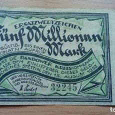 Billetes extranjeros: ALEMANIA 5 MILLONES MARCOS, STTETIN 15-8-1923 (RARO). Lote 138879622