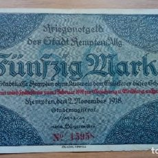 Billetes extranjeros: ALEMANIA 50 MARCOS. 2-11-1918. KEMPTEN. Lote 138882714