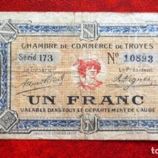 Billetes extranjeros: FRANCIA - BILLETE DE 1 FRANCO DEL 1921- CAMARA COMERCIO DE TROYES. Lote 138931562