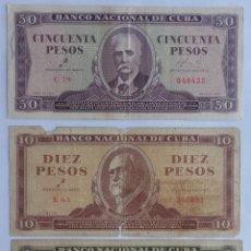 Billetes extranjeros: LOTE DE BILLETES VALORES DE 1, 10 Y 50 PESOS. CUBA. SERIE 1961 FIRMADA POR ERNESTO CHÉ GUEVARA.. Lote 139127298