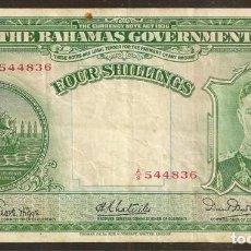 Billetes extranjeros: BAHAMAS. 4 SHILLINGS L.1936. PICK 9 E.. Lote 139242728