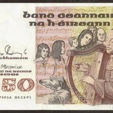 Billetes extranjeros: IRLANDA (EIRE). 50 POUNDS 05.11.1991. PICK 74B. S/C.. Lote 139560493