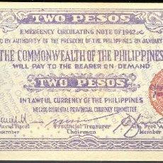 Billetes extranjeros: CMC FILIPINAS (PHILIPPINES) 2 PESOS 1942 PICK S647 SC. Lote 140007054
